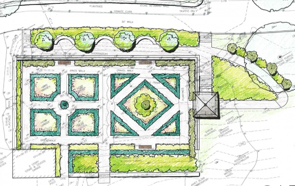 drawing of plan for the garden renovation