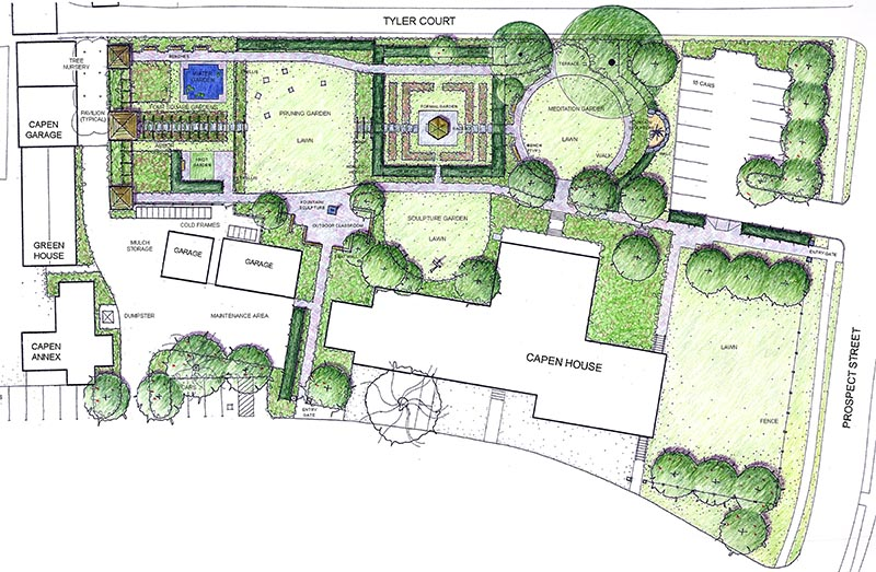 Nancy Denig drawing for the new layout for Capen Garden