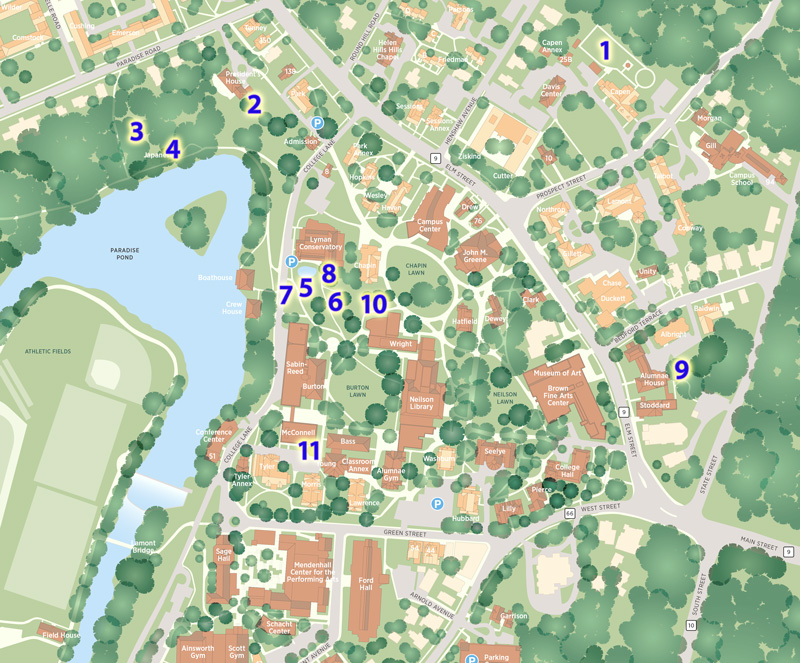 map of campus showing numbers where the gardens are