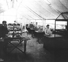 students in 1904 conducting plant physiology experiments