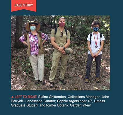 Photo of, left to right, Elaine Chittenden, Collections Manager, John Berryhill, Landscape Curator, and Sophie Argetsinger '07, UMass graduate student and former Botanic Garden intern.