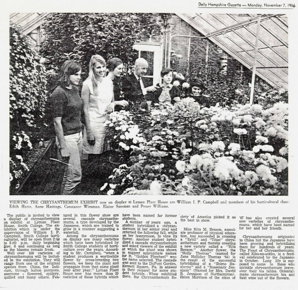William I.P. Campbell and members of his horticulture class visiting the Chrysanthemum Show