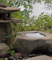 Japanese Garden stone lantern and rock basin