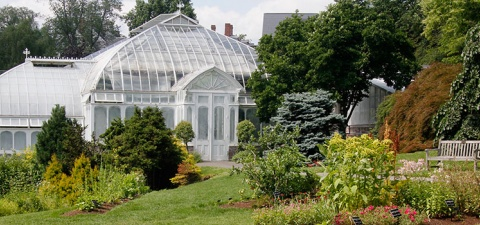 Lyman Conservatory and surrounding gardens