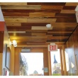 wood samples on the ceiling of the north hallway