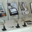 Display case with explanatory images and text on electron photomicroscopy