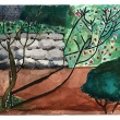 """Watercolor painting """"Fig Tree Before Stone Wall"""" by Shiqian Mao, Smith College '13"""