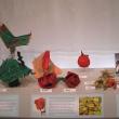 paper mache artwork in display case