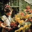 Student looking at the Chrysanthemum Show in the 1950s.
