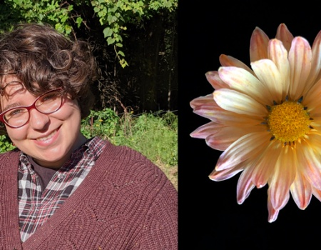Dani Lilienkamp, 2020 student hybrid mum contest winner, and image of the winning mum, daisy-like flower with yellow center and pale yellow to peach colored ray flowers