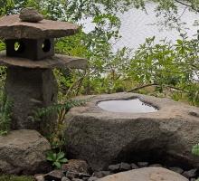 Japanese Garden stone lantern and rock basin