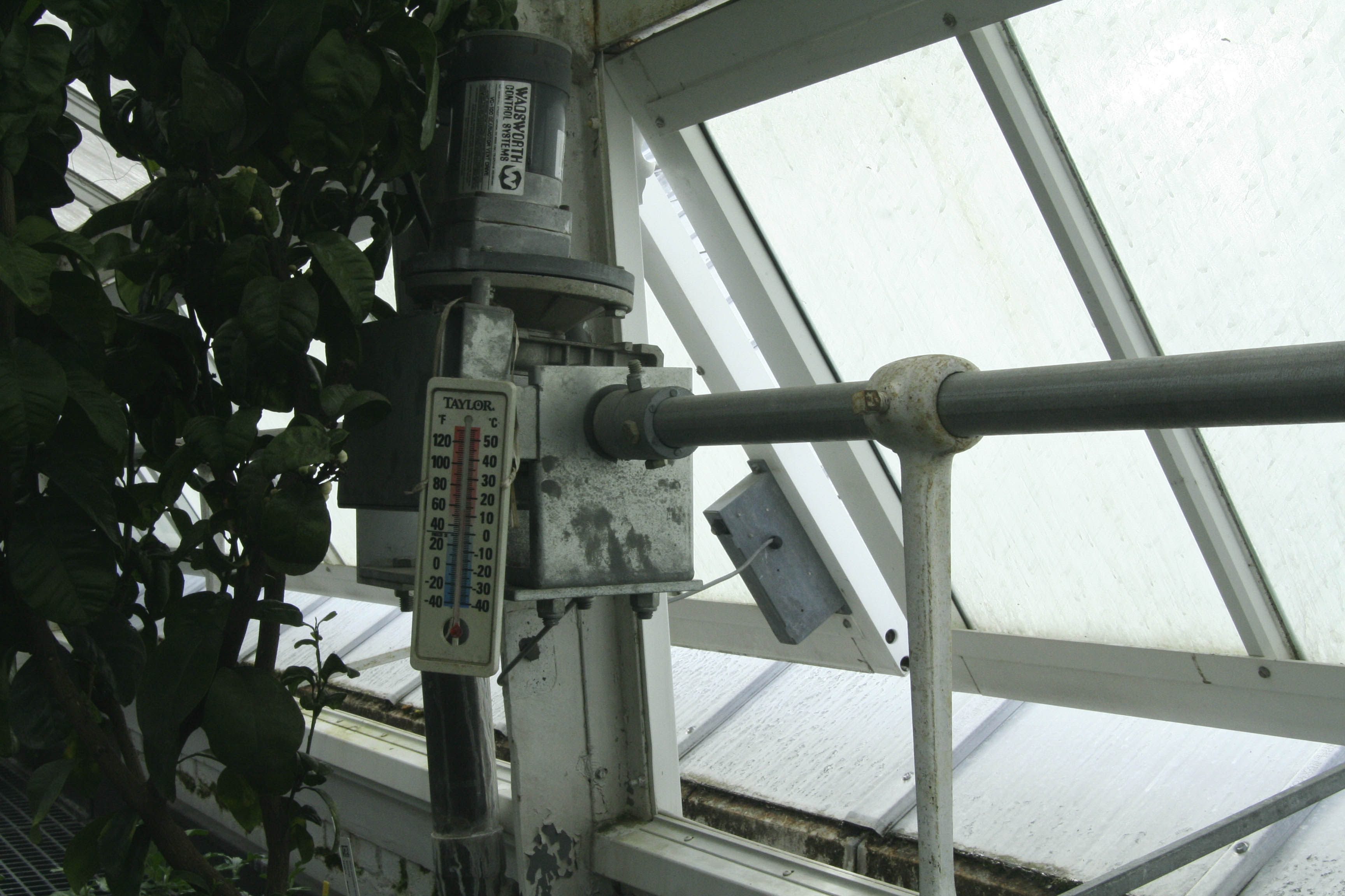 Image of a computerized vent in the greenhouse