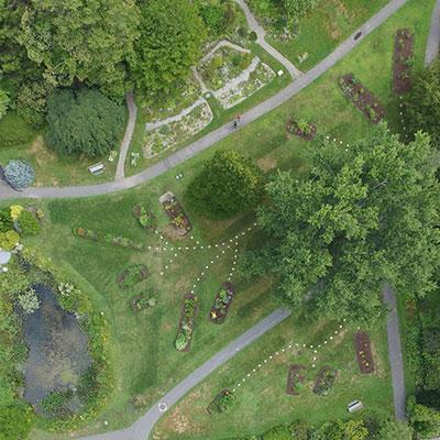 Aerial view of Systematics Garden, Rock Garden and Lyman Pond