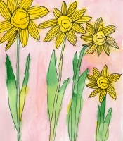 Daffodils painted by kindergartners