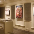 View of gallery with display cases and information panels