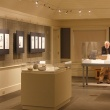 view of gallery with display cases of fossils and plant reconstruction drawings on gallery wall