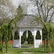gazebo and tulips