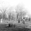 Students gardening at Capen Garden in 1924
