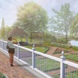Artists rendering of the redesigned garden with someone at the fence looking in